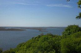 Ausblick vom Grünen Hügel auf Wolin auf das Delta der Swine