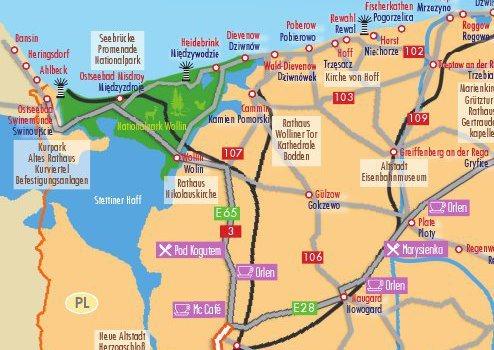 Karte der Insel Wolin in Polen und Umgebung